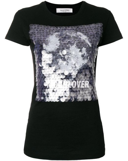 Valentino - Black Moonlover Sequin T-shirt - Lyst