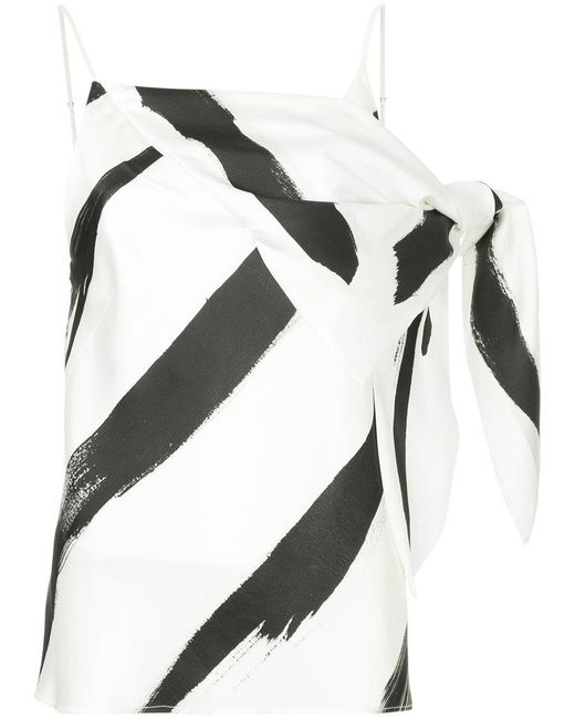 Christopher Esber - White Painterly Stripe Drape Detail Spaghetti Top - Lyst