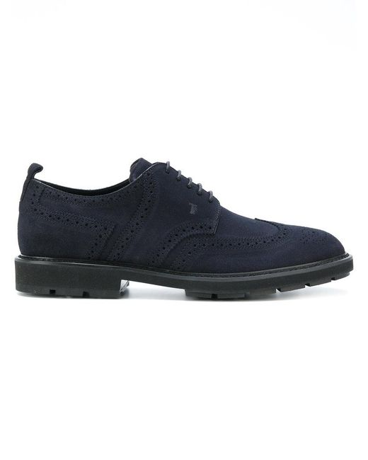 Tod's | Blue Brogue Shoes for Men | Lyst