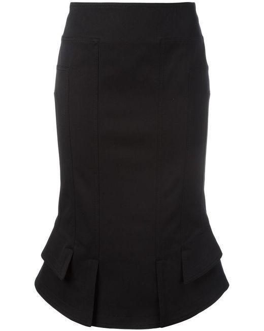 Tom Ford   Black Flared Hem Fitted Skirt   Lyst