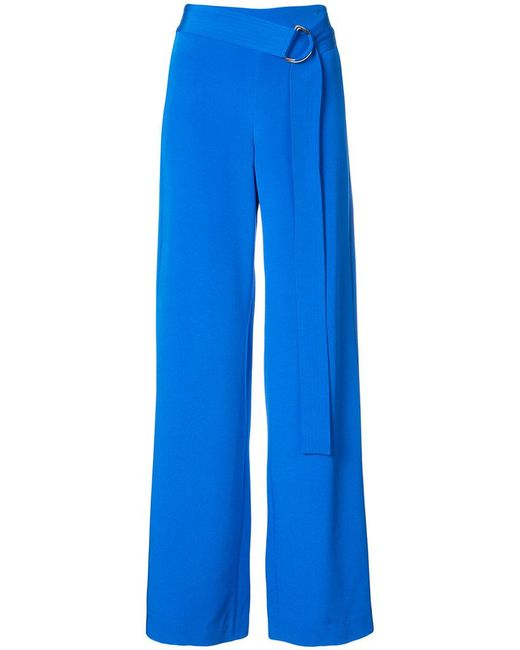 Adam Lippes - Blue Belted Palazzo Trousers - Lyst