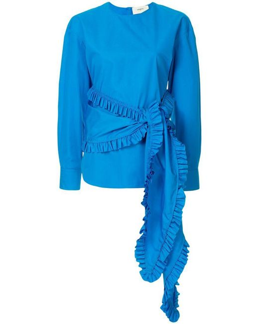 Ports 1961 - Blue Frilled Sash Blouse - Lyst