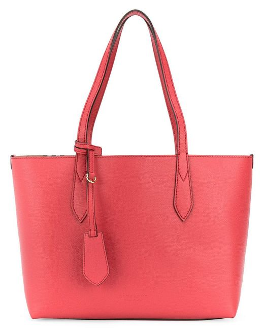 Burberry   The Medium Reversible Tote In Haymarket Check And Leather Coral Red   Lyst