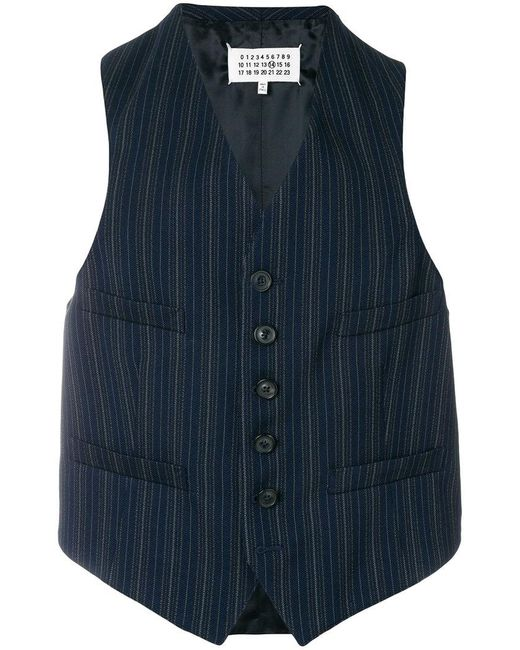 Maison Margiela - Blue Pinstripe Waistcoat for Men - Lyst