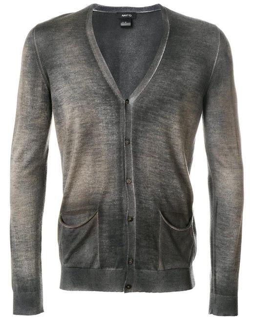 Avant Toi | Gray Mottled V-neck Cardigan for Men | Lyst