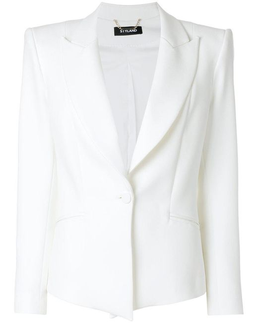 Styland - White Structured Button Up Blazer - Lyst