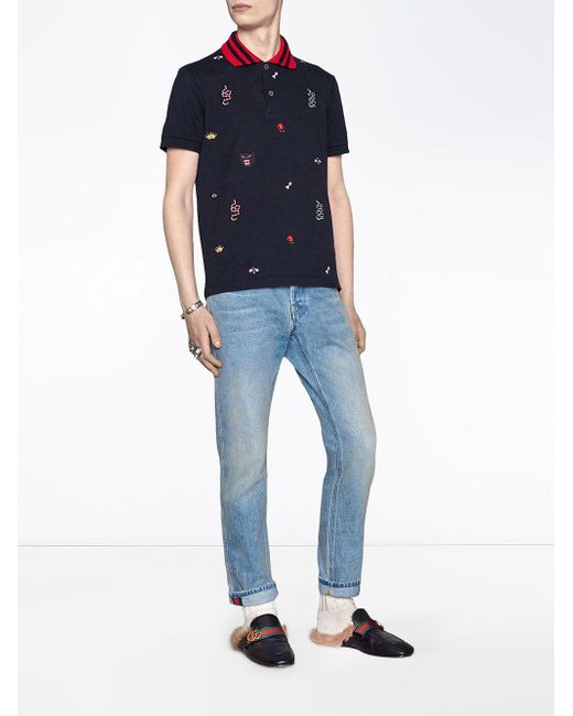 7822451c Gucci Embroidered Polo Shirt in Blue for Men - Save 34% - Lyst