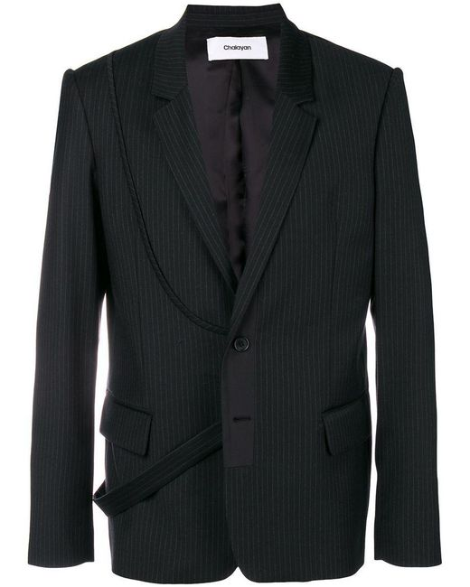 Chalayan - Black Strap Pinstripe Suit Jacket for Men - Lyst