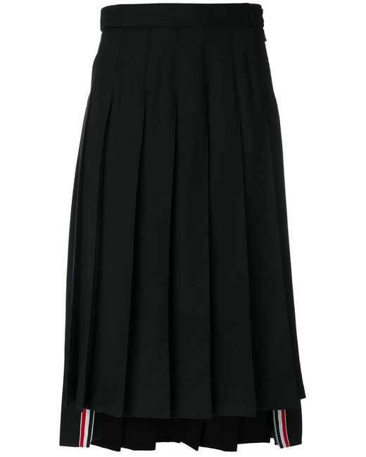 Thom Browne - Gray Dropped-back Below Knee Pleated Skirt In Black Crepe Suiting - Lyst