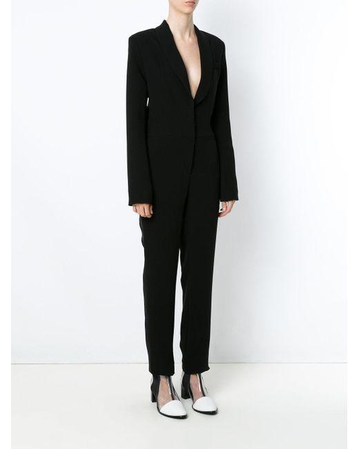 37abbfc858b ... Gloria Coelho - Black Tuxedo Jumpsuit - Lyst ...