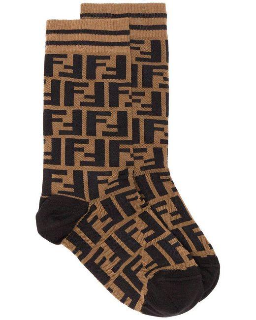 Fendi - Brown Ff Logo Socks - Lyst