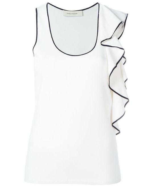 Cedric Charlier - White Ruffled Detail Tank Top - Lyst