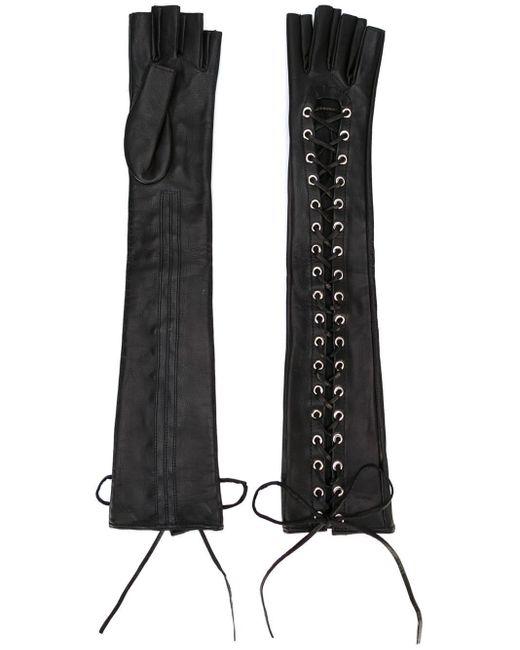 Manokhi - Black Long Laced Gloves - Lyst