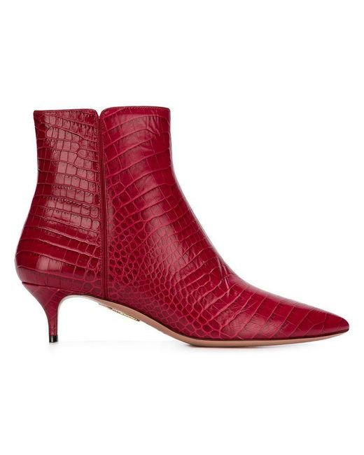 Aquazzura - Red Crocodile Effect Editor Boots - Lyst