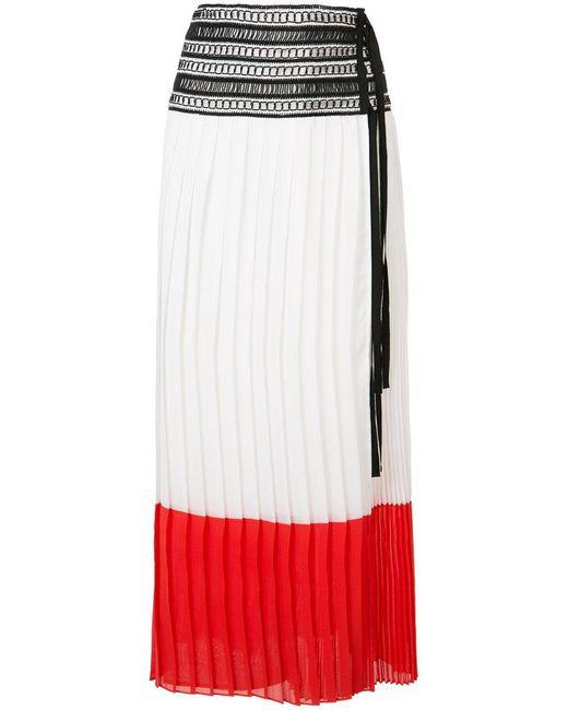 Oscar de la Renta | White Pleated Colour-block Skirt | Lyst