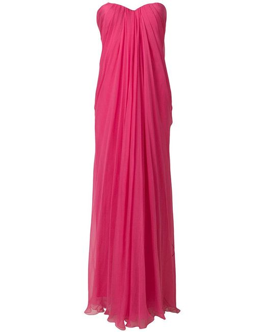 Alexander McQueen - Pink Draped Bustier Evening Dress - Lyst