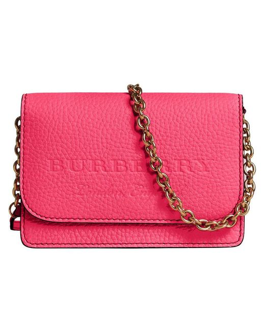 Burberry - Pink Embossed Logo Chain Wallet - Lyst