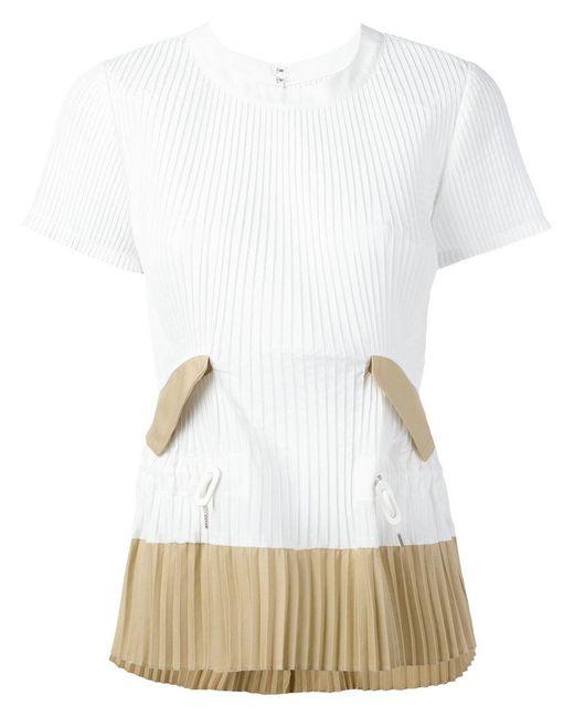 Sacai | White Pleated T-shirt | Lyst