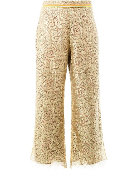 Peter Pilotto - Metallic Zig-zag Hem Floral Trousers - Lyst