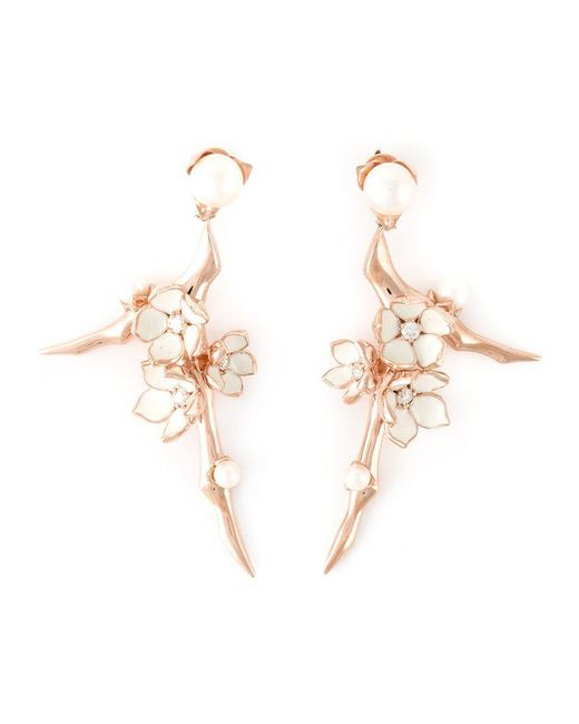 Shaun Leane - Metallic Rose Gold Vermeil And Sterling Silver 'cherry Blossom' Earrings - Lyst