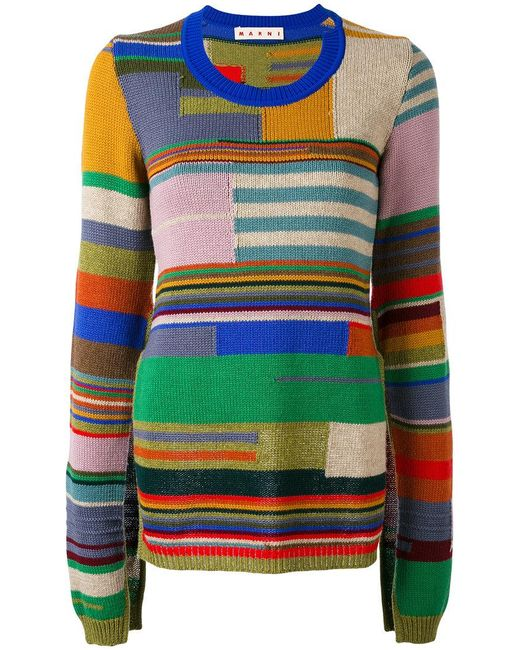 Marni   Green Block Stripe Cape Sleeve Sweater   Lyst