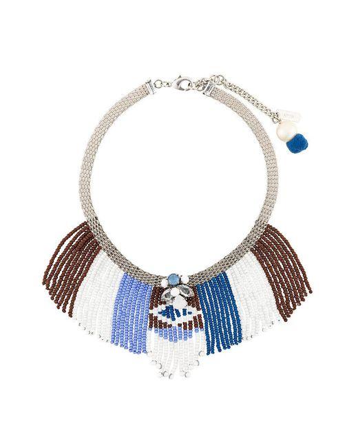 Rada' - Blue Beaded Fringes Short Necklace - Lyst