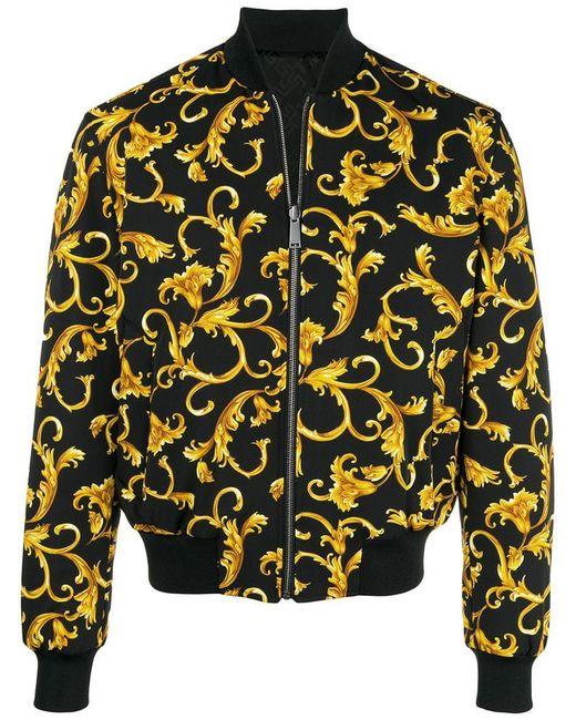 Versace - Black Printed Bomber Jacket for Men - Lyst