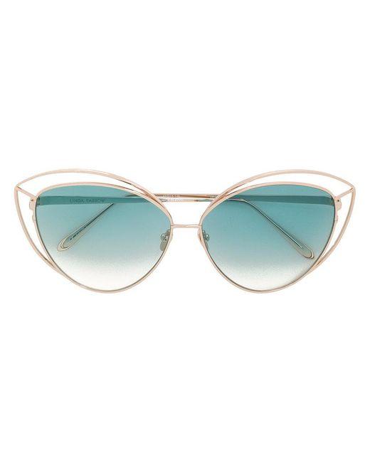 Linda Farrow - Metallic Cat Eye Cut Out Sunglasses - Lyst
