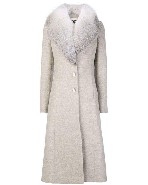 Blumarine - Multicolor Fur Collared Coat - Lyst