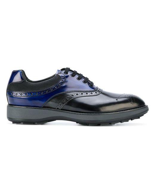Prada   Black Spazzolato Derby Shoes for Men   Lyst