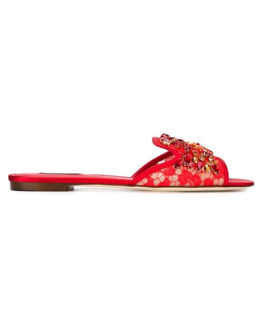 Dolce & Gabbana | Red Embellished Lace Sandals | Lyst