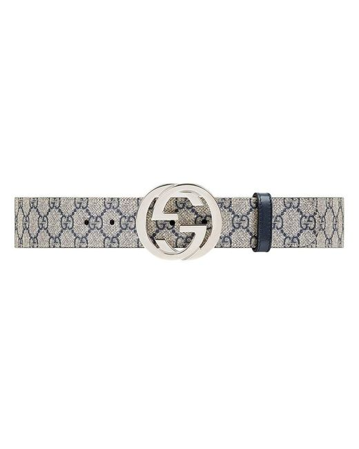 259a59f65f75c Gucci GG Supreme Belt With G Buckle in Blue - Lyst