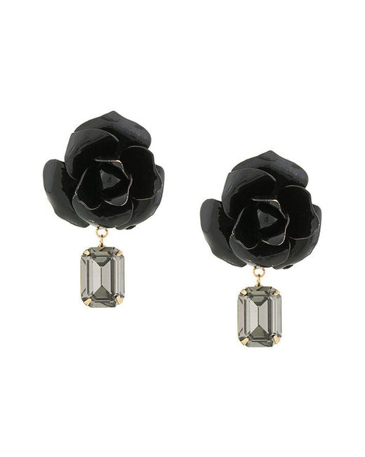 Jennifer Behr - Black 14kt Gold Plated Rose Earrings - Lyst