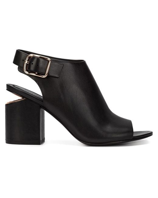 Alexander Wang - Black Nadia Leather Gold-Cutout Ankle Boots - Lyst