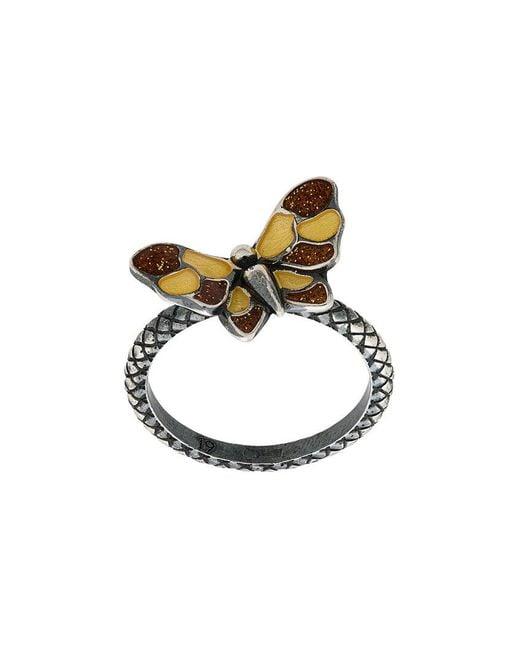Bottega Veneta - Metallic Butterfly Intrecciato Ring - Lyst