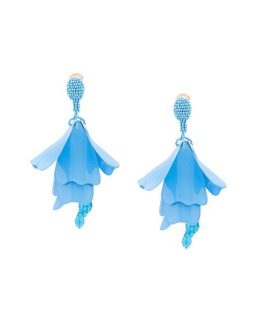 Oscar de la Renta | Blue Impatiens Flower Drop Clip-on Earrings | Lyst