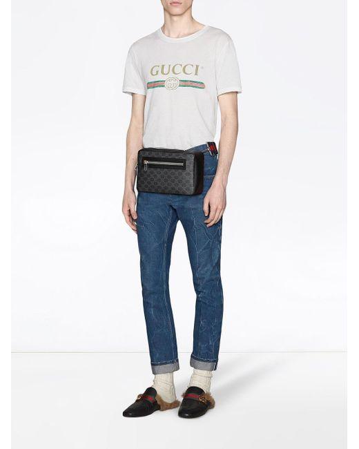 f33252e48 ... Gucci - Black GG Supreme Cross Body Bag for Men - Lyst ...