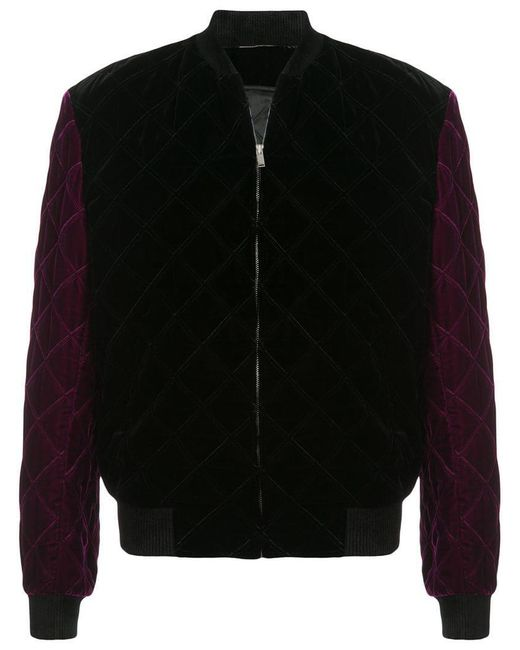 c4a642120423 Saint Laurent - Black Quilted Velvet Bomber Jacket for Men - Lyst ...