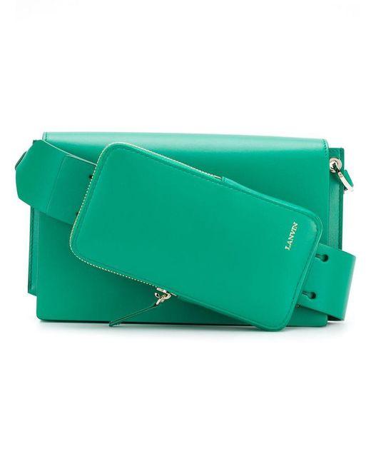 Lanvin - Green Logo Embossed Shoulder Bag - Lyst