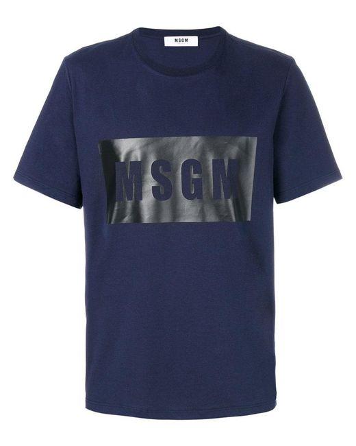 MSGM | Blue Branded T-shirt for Men | Lyst