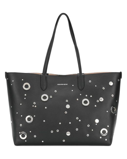 Alexander McQueen | Black Studded Shopper Tote | Lyst