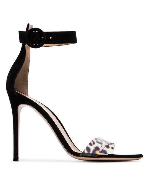 f0a315bca661 Gianvito Rossi - Black And Leopard Print Portofino 105 Suede Sandals - Lyst  ...