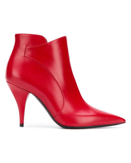 Casadei - Red Pointed Toe Ankle Boots - Lyst