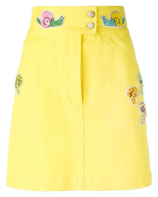 Olympia Le-Tan - Yellow Beaded Patch Fitted Skirt - Lyst