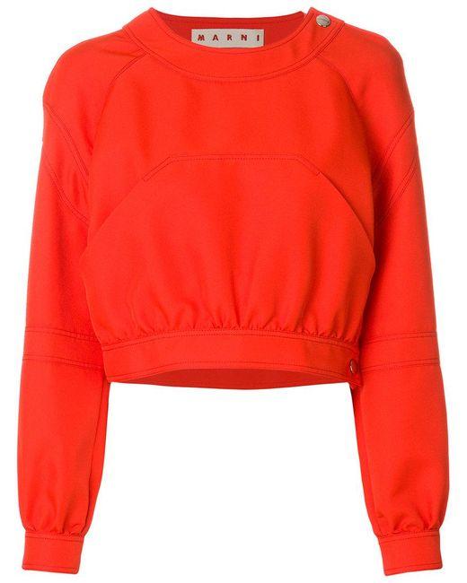 Marni - Orange Felpa Crop - Lyst