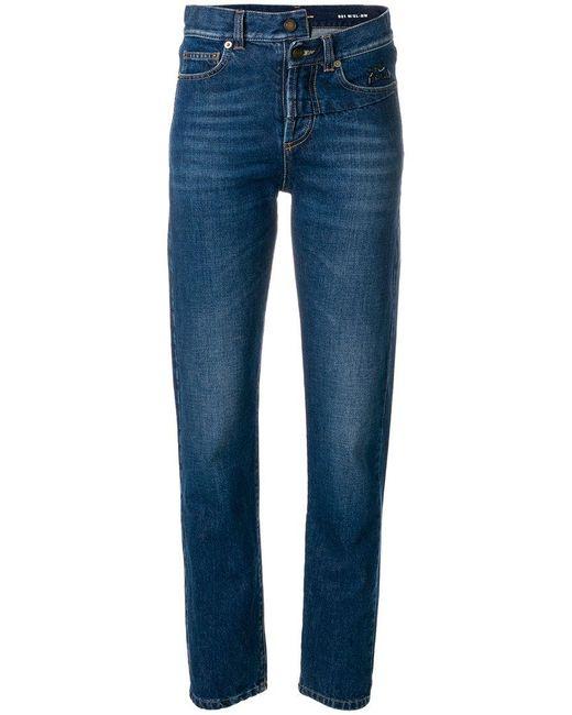 Saint Laurent - Blue Jeans Aderenti - Lyst