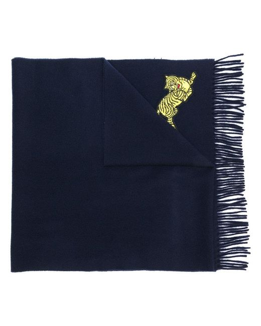 KENZO - Blue Jumping Tiger Fringed Wool Scarf for Men - Lyst