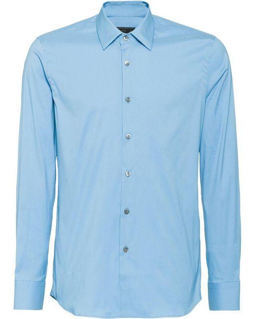 Prada - Blue Stretch Poplin Shirt for Men - Lyst