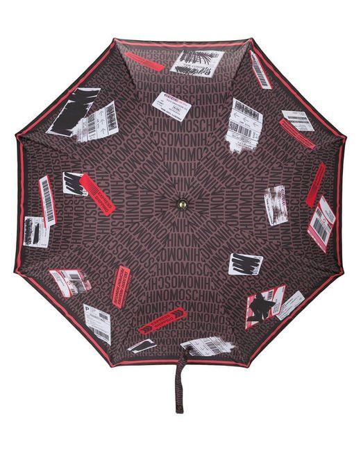 Moschino - Brown Travel Tag Print Umbrella - Lyst