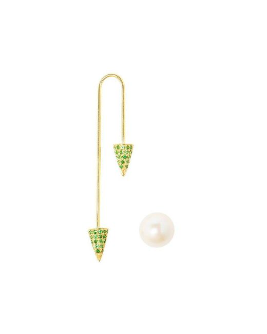 Asherali Knopfer - Metallic 18k Yellow Gold Tsavorite And Pearl Bar Earring - Lyst